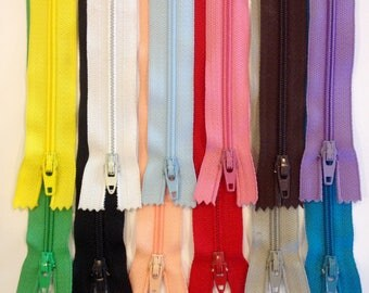 """7"""" or 9""""  of a 12 pack zipper bundle,  Ziplon YKK coil zippers, variety of colors, nylon coil, below whole sale prices, priced to sell"""
