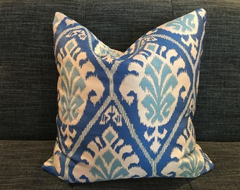 Shades of Blue and White Ikat Pillow Covers /  Designer Claridge Fabric
