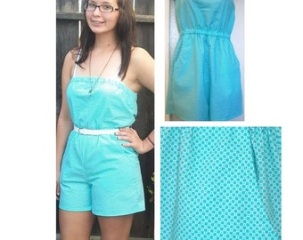 Strapless Romper Aqua Checkered - CLEARANCE SALE