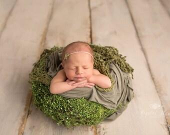 The NOX Soft Green Tieback with baby's breath Newborn + baby headband tie back photography prop