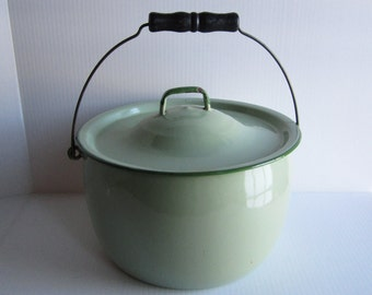 Antique Jadeite Green Enamelware Large Cook Pot