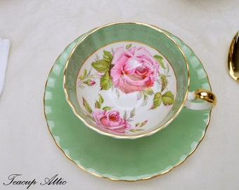 Aynsley Sage Green Teacup and Saucer Set With Large Pink Cabbage Roses, English Bone China Tea Cup,  ca. 1939