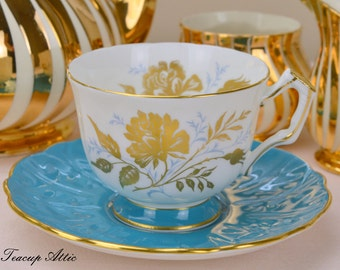 Aynsley Blue Embossed Teacup and Saucer Set With Gold Decoration, English Bone China Tea Cup Set, ca. 1960-1972