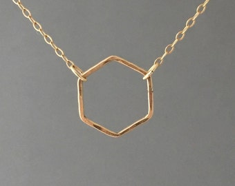 Hexagon Necklace in Gold Fill, Sterling Silver or Rose Gold Fill