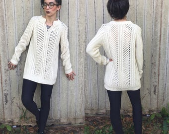 Vintage knit white long sweater small fisherman