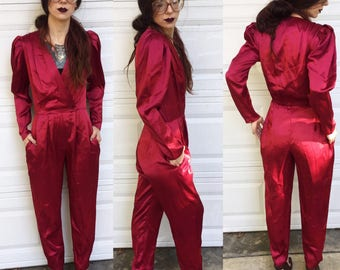 Vintage Oxblood Satin Jumpsuit Deep V Neck size small / medium pockets