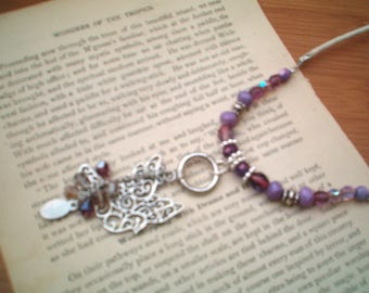 Dove Charm Necklace, Bird,  Beaded Necklace, Dove Beaded Necklace, Peace, Cord Necklace, Dangle Pendant Necklace, Purple & Silver Necklaces