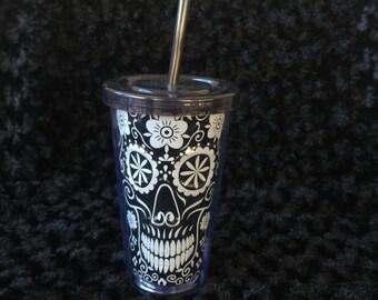 Black Dia De Los Muertos Sugar Skull Double Walled Tumbler