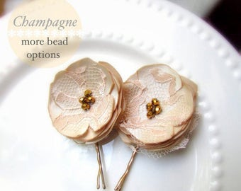 2 Champagne Hair Flowers, Champagne Satin Lace Bridal Hair Clip, Vintage Gold Bead Nude Bridal Floral Hair pins, Lace Bridesmaid Hair Piece