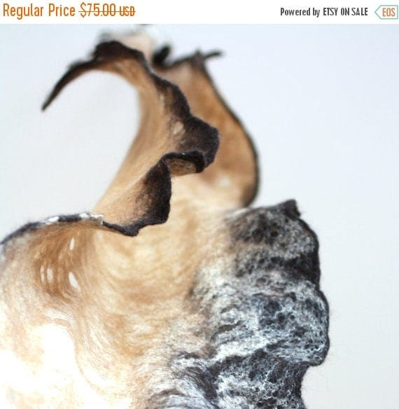 Women felted scarf cobweb felt wool silk shawl - brown beige - spring scarf