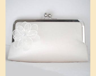Wedding clutch bag in ivory silk with floral organza corsage and Swarovski crystals, handmade bridal purse, optional personalisation