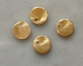 5 Gold Brushed Circles Coins 9mm