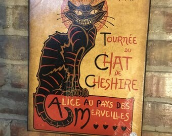 "Cheshire Cat and ""Le Chat Nior"" mashup print on Canvas"