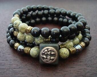 Men's Kundalini Shiva Shakti Mala // Russian Serpentine & Hematite Mala Necklace or Wrap Bracelet // Yoga, Buddhist, Prayer Beads, Jewelry