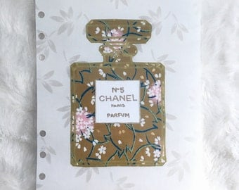Floral Chanel Bottle Dashboard with Leave Background | Japanese rice paper| Filofax stationary