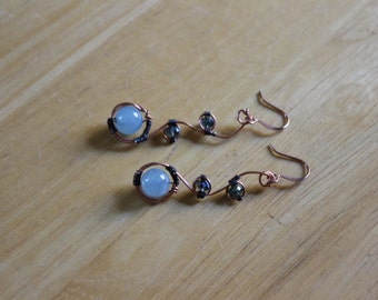 Angelite Copper wire wrapped earrings