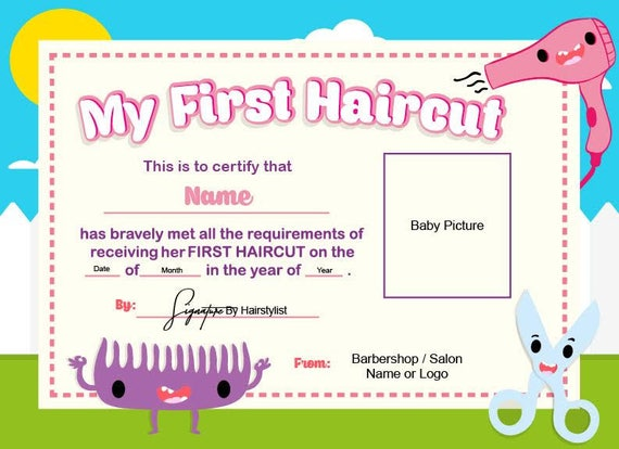 my first haircut certificate template - first haircut certificate baby haircut certificate 8x11
