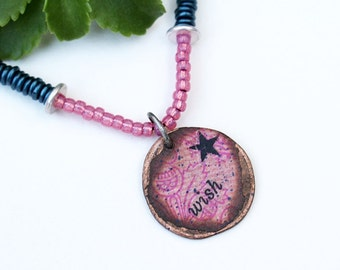 Wish Mixed Media Necklace, Pink Pendant Necklace, Mixed Media Jewelry, Recycled Repurposed, Seed Bead, Short, Bohemian Necklace