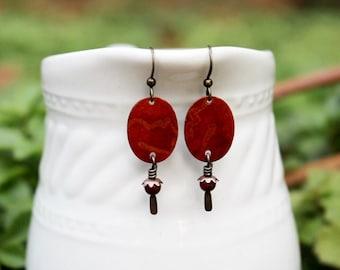 Mixed Media Earrings, Mixed Media Jewelry, Red Beaded Earrings, Long Earrings, Burnt Orange, Bohemian, Recycled Repurposed