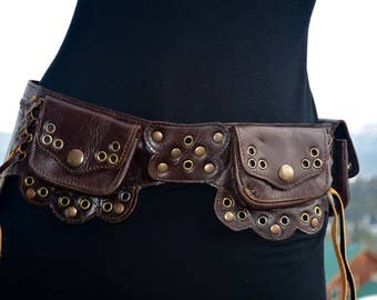 Sale Dark brown leather Lilac utility belt/ Fanny pack/ pocket belt/ belt bag/ burning man belt