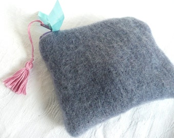 Wool coin purse - blue wool coin purse - hand dyed blue wool mini pouch with tassel - hand made wool coin purse - hand dyed wool pouch
