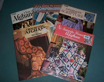 Collection of 5 Vintage Crochet Afghan Books..Granny Square..Annie's Attic..Crochet Afghan Patterns..Afghans Inspired by Scripture