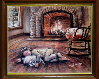 Children - ORIGINAL pastel painting - Boy and dog, cat,'Warm and Cozy by the Fire' child wall art, Laurie Shanholtzer