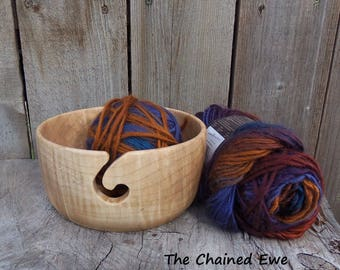 Wooden Yarn Bowl, Curly Maple