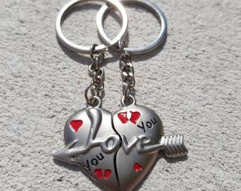 Couples Keychain, Love, Heart