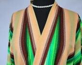 Vintage Multi Colored Stripes Kabuki Coat Textured Bath Robe One Size