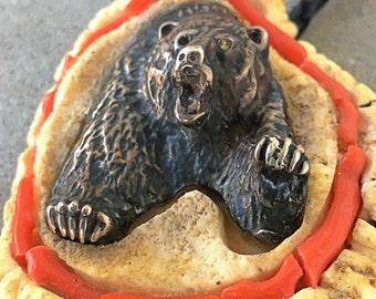 Vintage antler sterling bear bolo huge statement necklace
