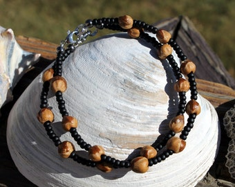 2 Ghost Berry Bracelets, Navajo Protection Charm, Black, Cedar Seed, Ghost Bead, Ankle Bracelets