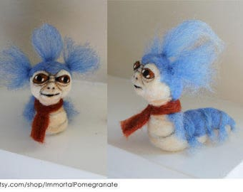 Ello Worm From The Labyrinth/ Needlefelted Worm/ Fiber Art
