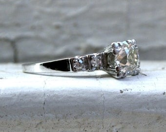 RESERVED - Lovely Classic Vintage Platinum Diamond Engagement Ring - 1.08ct.