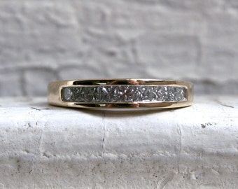 RESERVED - Vintage Channel 14K Yellow Gold Princess Diamond Wedding Band - 0.90ct