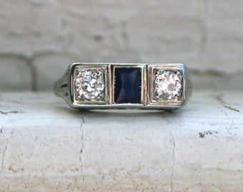Vintage Filigree 14K White Gold Diamond and Sapphire Engagement Ring - 0.45ct.