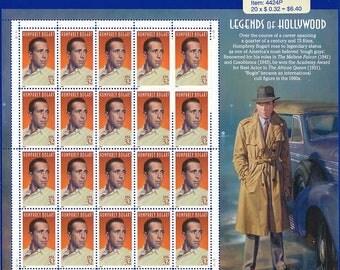 1997 Legends of Hollywood Humphrey Bogart Sheet of Stamps
