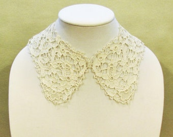 Antique lace collar, handmade needle lace collar, off white woman's or girl's dress collar