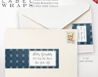 Envelope Wrap Labels - Nautical Printable Wrap Around Address Sticker Templates - Printable Address Labels Avery Silhouette LBEW AAC