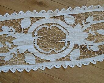 French linen cutwork dresser scarf, handmade white linen openwork embroidered doily