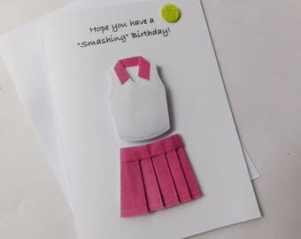 Tennis Birthday Card - Tennis Card - Handmade Greeting Card with tennis outfit Embellishment