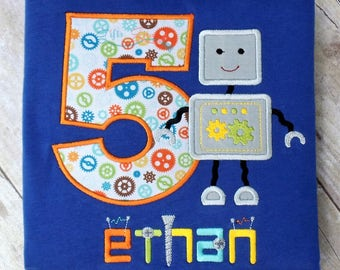 Embroidered robot birthday shirt with cute robot, gears, special robot font, customized with your name and birthday age