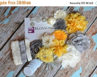HOLIDAY SALE DIY Headband Making Kit - Yellow/Gray Collection - Chiffon Frayed Flowers - Shabby Rose Trim - Flower Headbands - Glitter Bows
