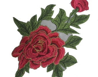 3D Embroidered Flower Rose Applique on Black Mesh, Sewing Rose Applique, Flower Patch