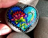 love grows /painted rocks / painted stones / hand painted rocks / heart stones / blue hearts / coffee table art / stones / rock art / rocks