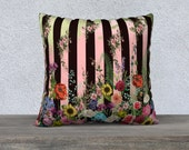 Vintage Floral Pink, Green & Black Stripe Cushion Cover