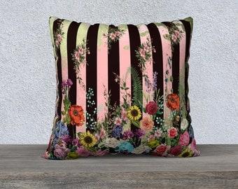 Vintage Floral Pink, Green & Black Stripe Cushion Cover