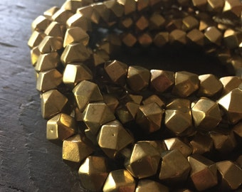 Kashmir Brass Large Cornerless Cube Beads - 9x9mm  - Sparkly Faceted Beads - Half Strand or Whole Strands Available