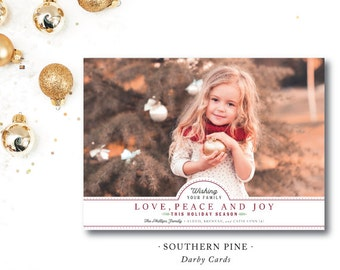 Southern Pine Holiday Photo Cards | Love, Peace and Joy | Photocard | Merry Christmas |  Printed or Printable by DarbyCards