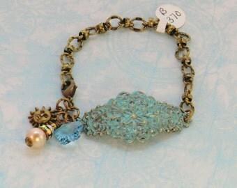 Aqua hand painted antique brass cuff, vintage style swarovski flower sun charm bracelet, turquoise pearls rhinestones, gift bracelets, blue